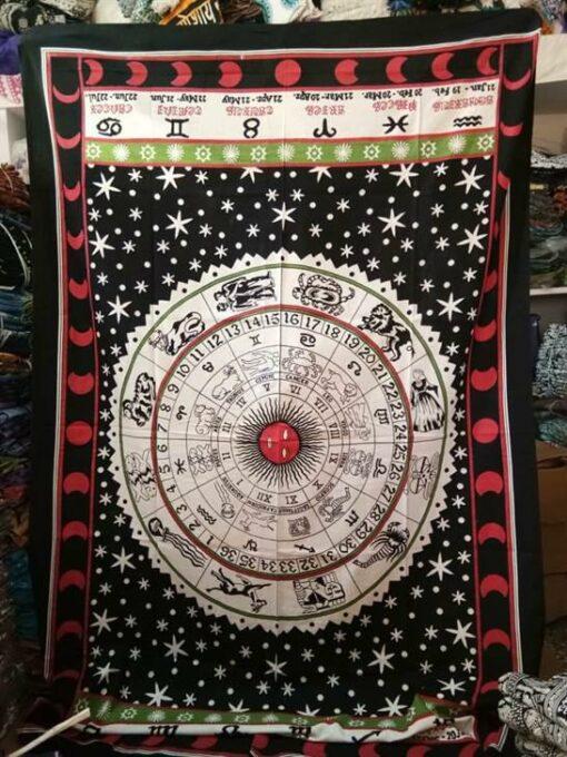 "Zodiac Tapestry Black and White 84"" x 54"""