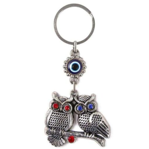 Owls with Evil Eye Keychain for Good Luck